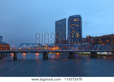 Grand Rapids cityscape by twilight night in Michigan