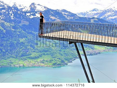 Alpine viewpoint in the Harder Kulm, Switzerland