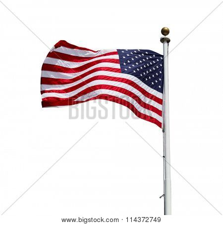 Waving American US flag isolated on white background