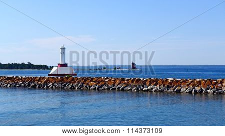 Old Round Island Point Lighthouse and Passage Light in Straits of Mackinac Michigan