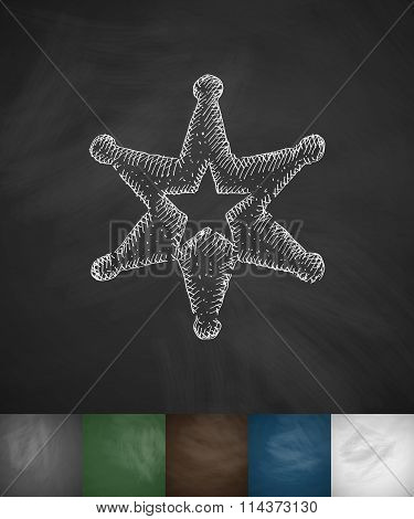sheriff star icon. Hand drawn vector illustration