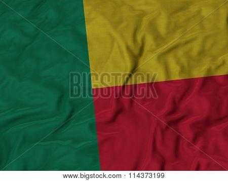 Close Up Of Ruffled Benin Flag