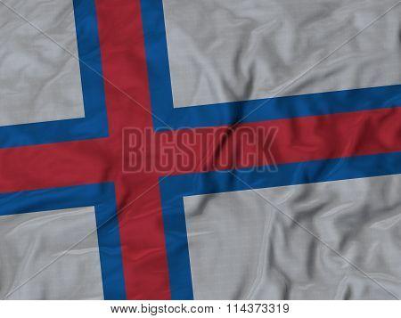 Close Up Of Ruffled Faroe Islands Flag