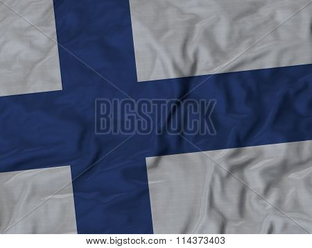 Close Up Of Ruffled Finland Flag