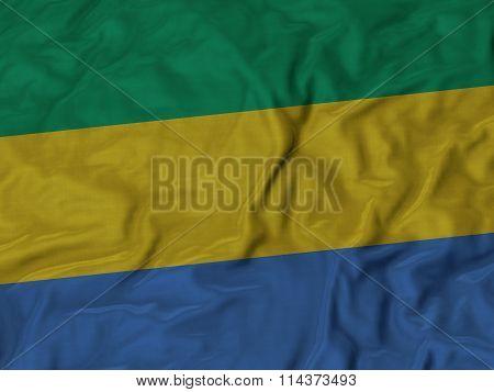Close Up Of Ruffled Gabon Flag