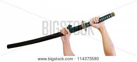 Hands holding katana - japanese sword (Samurai sword)