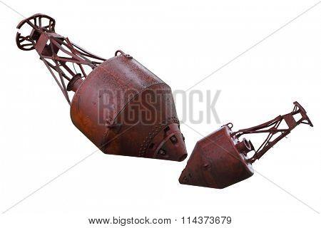 Old rusty mooring buoys isolated on white background