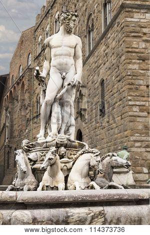 Piazza Della Signoria, Florence, Italy, fountain of Neptune