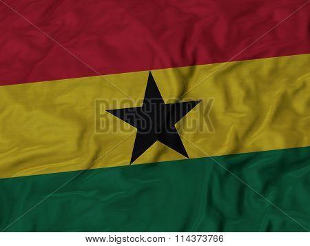 Close Up Of Ruffled Ghana Flag