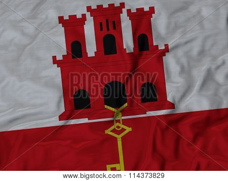 Close Up Of Ruffled Gibraltar Flag