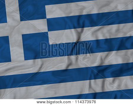 Close Up Of Ruffled Greece Flag