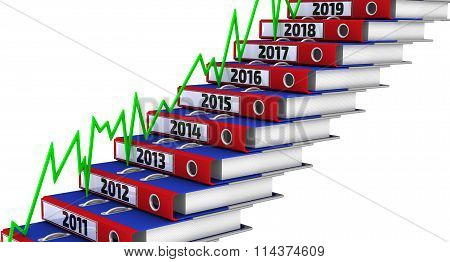 Folders stacked in the form of steps, marked the years 2011-2019, and green graph
