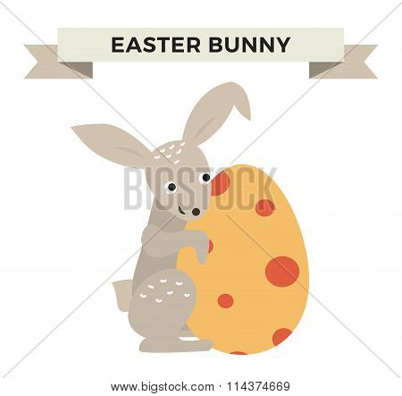 Cute bunny holding Easter Egg cute vector style