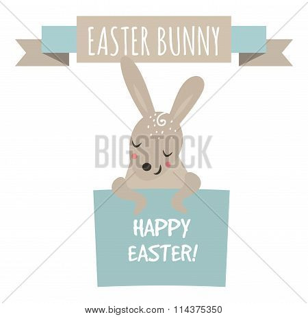 Cute bunny holding banner cute vector style.