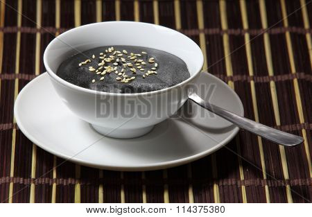 Sweet Delicious creamy black sesame tahini soup