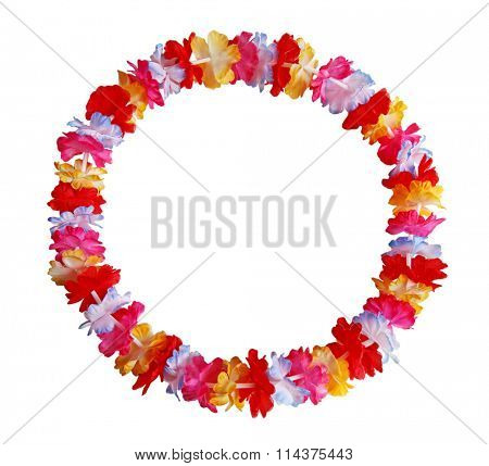 Round circle colorful Hawaiian lei with bright colorful flowers