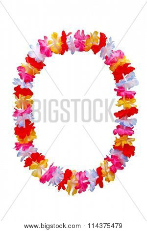 Hawaiian oval lei necklace isolated on white background
