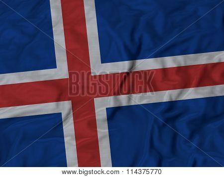 Close Up Of Ruffled Iceland Flag