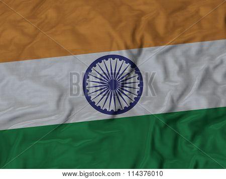 Close Up Of Ruffled India Flag