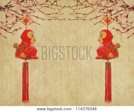 2016 is year of the monkey,chinese traditional knot