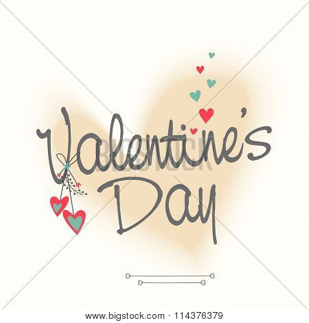 Elegant greeting card design with stylish text Happy Valentine's Day on hearts decorated background.