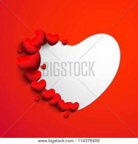 Beautiful glossy hearts decorated greeting card design with space for Happy Valentine's Day celebration.