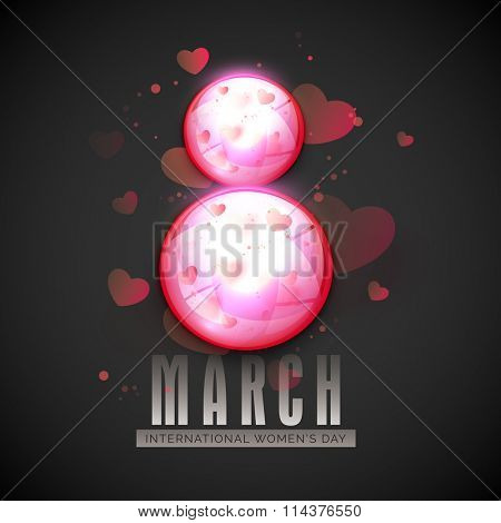 Elegant glossy text 8 March on hearts decorated background for Happy International Women's Day celebration.
