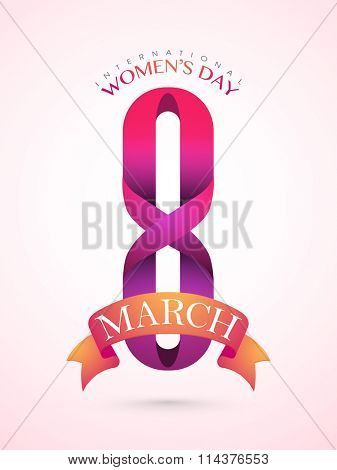 Glossy Flyer, Banner or Pamphlet with stylish text 8 March for Happy International Women's Day celebration.