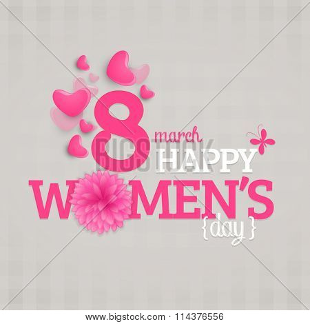 Glossy pink hearts decorated greeting card for 8 March, Happy International Women's Day celebration.