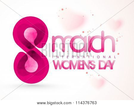 Stylish text 8 March with hearts on glossy background for Happy International Women's Day celebration.