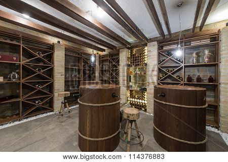 Modern wooden winery or wine cellar