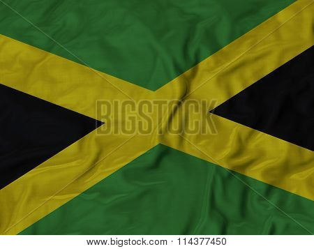 Close Up Of Ruffled Jamaica Flag