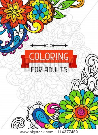Adult coloring book design for cover. Illustration of trend item to relieve stress and creativity