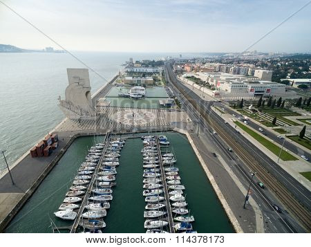Aerial View of Monument to the Discoveries at Belem district, Lisbon, Portugal