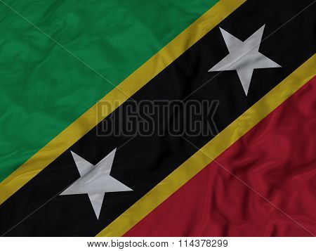 Close Up Of Ruffled Saint Kitts And Nevis Flag