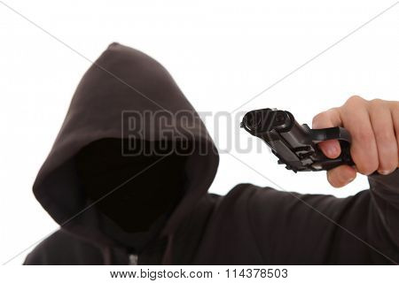 Unknown dangerous attacker with a gun
