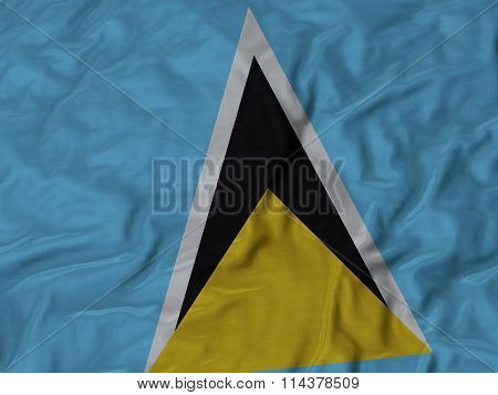 Close Up Of Ruffled Saint Lucia Flag