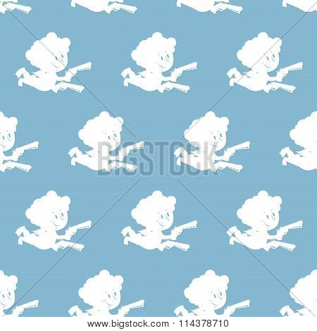 Cupid Seamless Pattern. White Angel On Blue Background. Texture For Valentine's Day Holiday. Ornamen
