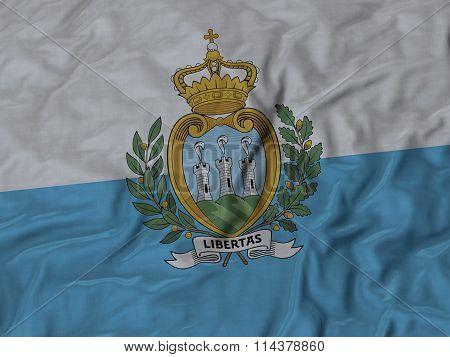 Close Up Of Ruffled San Marino Flag