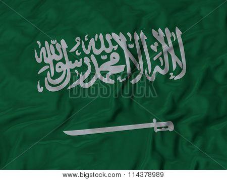 Close Up Of Ruffled Saudi Arabia Flag