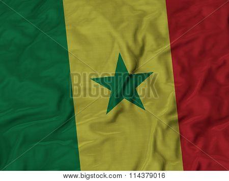 Close Up Of Ruffled Senegal Flag