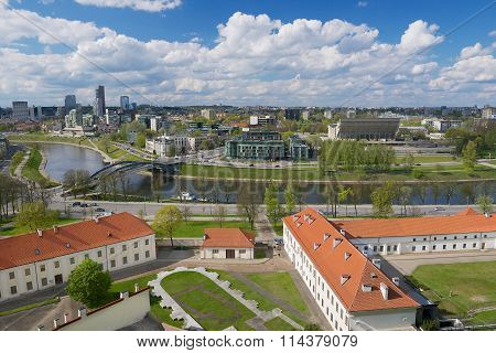 View to the Vilnius city and Neris river from Gediminas hill in Vilnius, Lithuania.