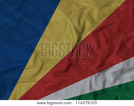 Close Up Of Ruffled Seychelles Flag