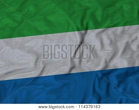Close Up Of Ruffled Sierra Leone Flag