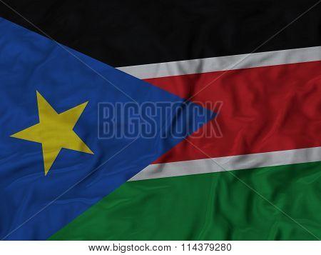 Close Up Of Ruffled South Sudan Flag