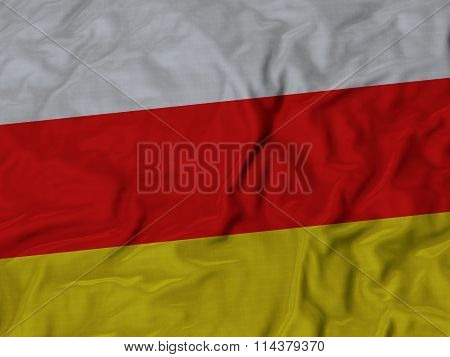 Close Up Of Ruffled South Ossetia Flag