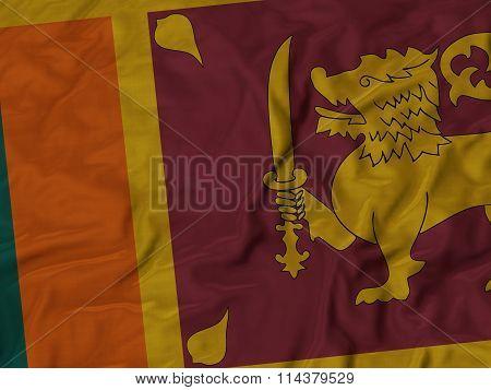 Close Up Of Ruffled Sri Lanka Flag