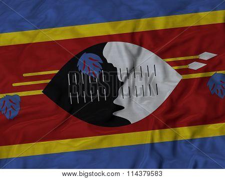 Close Up Of Ruffled Swaziland Flag