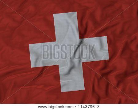 Close Up Of Ruffled Switzerland Flag