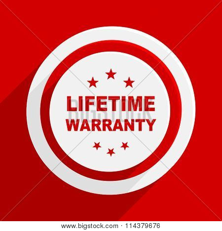 lifetime warranty red flat design modern vector icon for web and mobile app